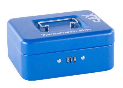 SAX Geldkassette blau matt individuell mit Namen bedruckbar mit Zahlenschloss für Banknoten Euro-Münzen 20x9x16cm
