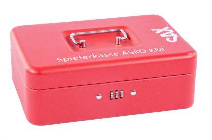 SAX Geldkassette rot matt individuell mit Namen bedruckbar mit Zahlenschloss für Banknoten Euro-Münzen 25x9x18cm