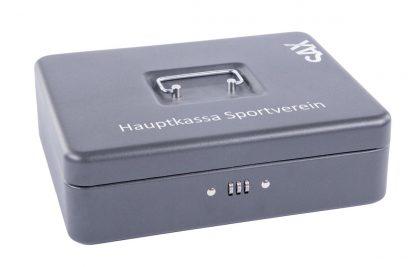 SAX Geldkassette schwarz matt individuell mit Namen bedruckbar mit Zahlenschloss für Banknoten Euro-Münzen 30x9x24cm