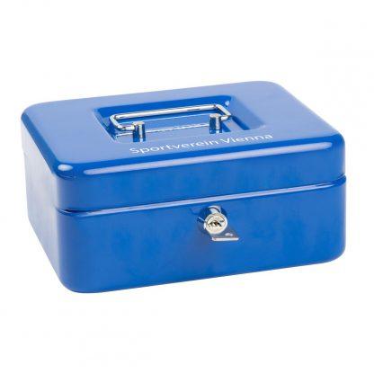 SAX Geldkassette blau individuell mit Namen bedruckbar mit Zylinderschloss 20x9x16cm für Banknoten Euro-Münzen